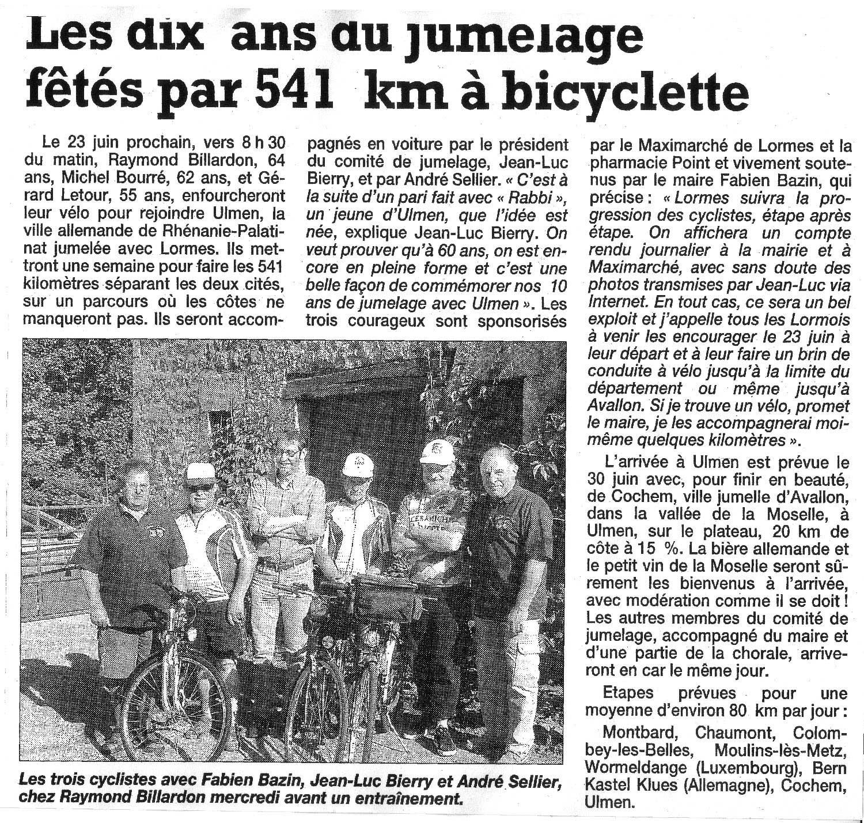 Les dix ans de jumelage fêtés par 541 km à bicyclette