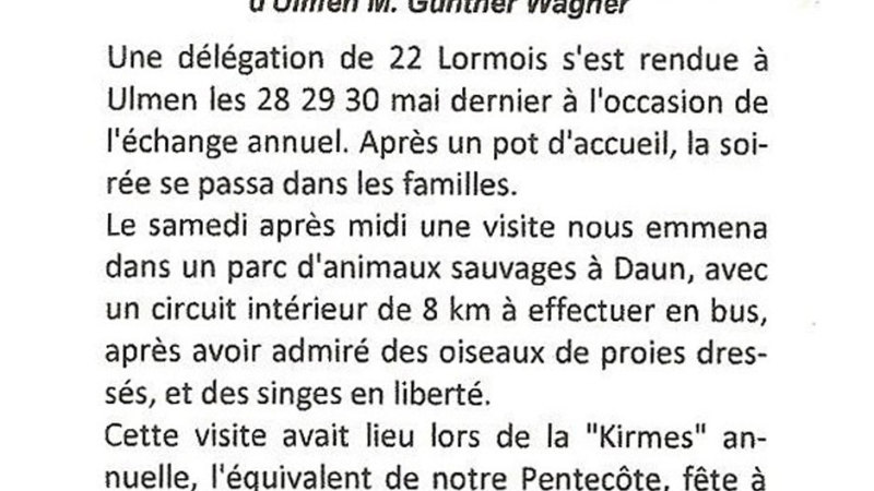 Visite des Lormois à fête de la Kirmes